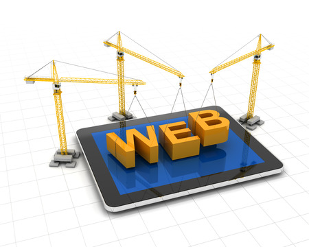 developing: Tablet with cranes and the word web, 3d render, white background