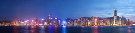 High resolution panoramic view of Hong Kong at night, created by stitching multiple images Stock Photo