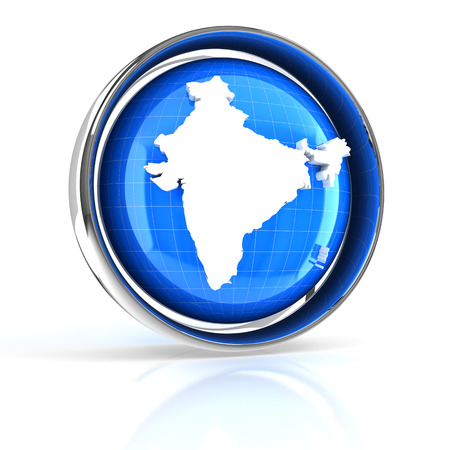 india 3d: Icon with map of India, 3d render, white background