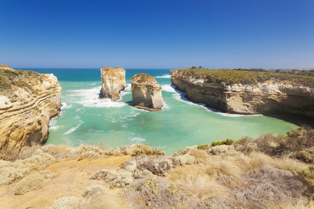 Rock stacks in the Twelve Apostles area in Australia Stock Photo