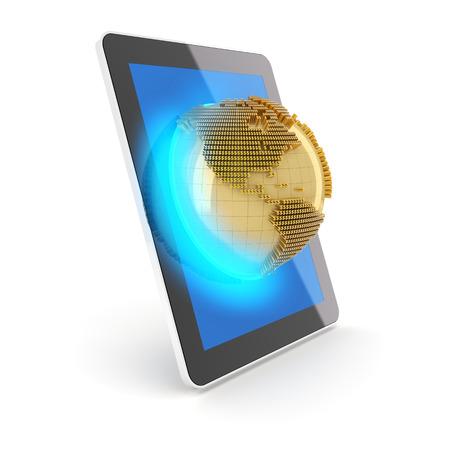 digital globe: Money globe emerging from a digital tablet, 3d render, white background