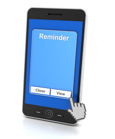 notification: Generic smartphone with reminder notification, 3d render