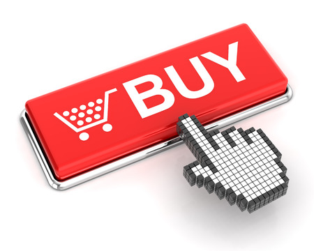 checkout button: Hand cursor clicking a buy button, 3d render