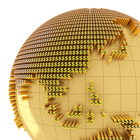 golden globe: Golden globe formed by dollar sign, close-up on Asia, 3d render Stock Photo