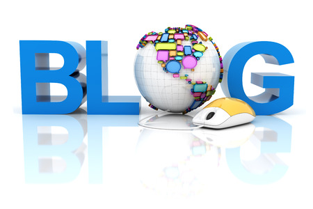 Blog with globe formed by speech bubbles, 3d render photo