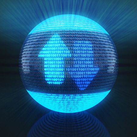 up code: Upload and download icon on globe formed by binary code, 3d render