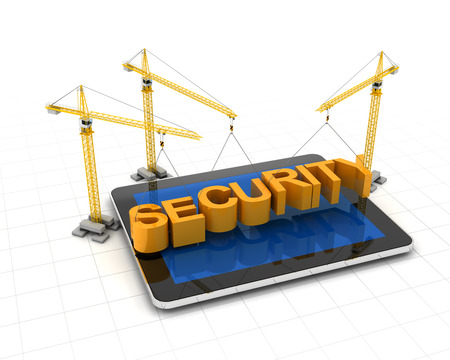 secure site: Tablet computer with cranes and the word security, 3d render Stock Photo