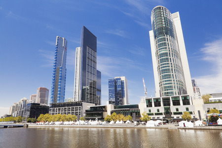 cbd: View of Southbank in Melbourne CBD in the daytime