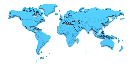Blue world map with national borders, 3d render