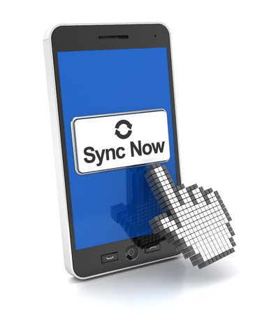 syncing: Syncing a smartphone, 3d nreder, white background Stock Photo