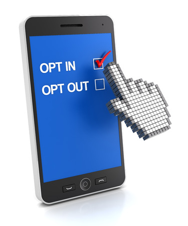 opting: Hand cursor clicking a smartphone to opt in ,3d render, white background Stock Photo