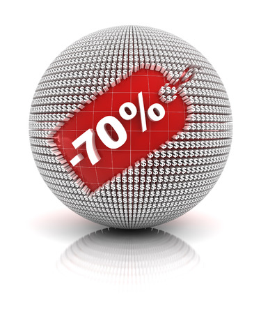 70: 70 percent off sale tag on a sphere, 3d render. white background