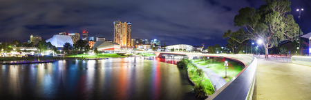 Adelaide, Australia - March 4, 2015: Panorama of the Riverbank Precinct of Adelaide in South Australia at night, formed by stitching multiple images together