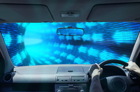 Composite image of driving in a digital tunnel Zdjęcie Seryjne