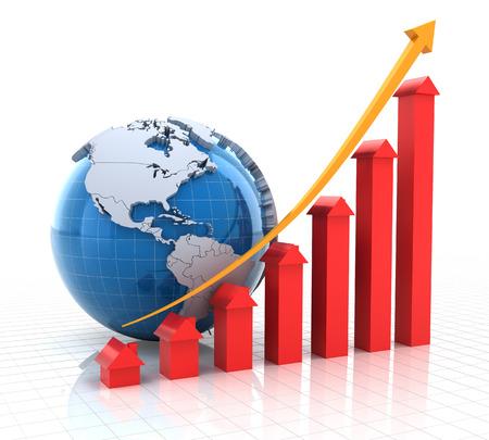 investment real state: Bienes ra�ces tabla de crecimiento con el globo, 3d, fondo blanco