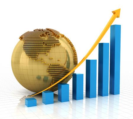 golden globe: Rising chart with golden globe, 3d render, white background