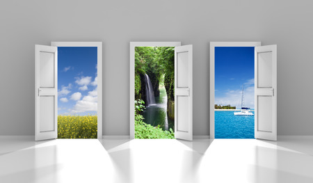 Composite image of three doors leading to different travel destinations