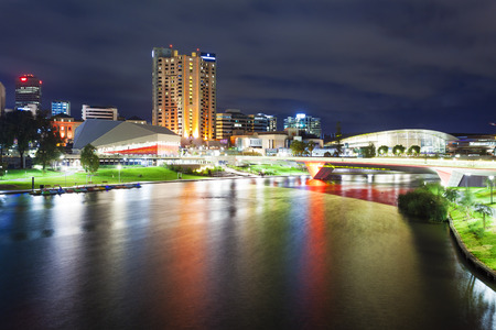adelaide: Adelaide, Australia - March 4, 2015: Riverbank Precinct of Adelaide in South Australia at night