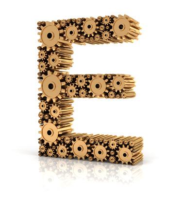Alphabet E formed by metallic golden gears, 3d render photo