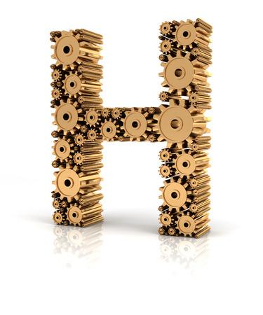 fonts 3d: Alphabet H formed by metallic golden gears, 3d render