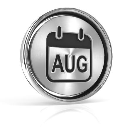 3d circle: Metallic August calendar icon, 3d render, white background Stock Photo