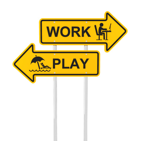 overloaded: Work or play road sign, 3d render, white background Stock Photo