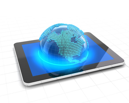 binary globe: Globe with binary code emerging from a tablet, 3d render