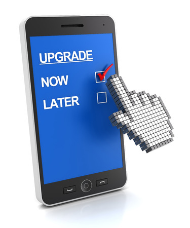 upgrade: Mobile phone upgrade now or later concept, 3d render