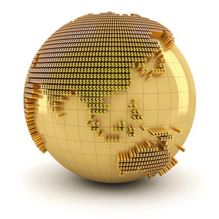 golden globe: Golden globe formed by dollar sign, 3d render Stock Photo