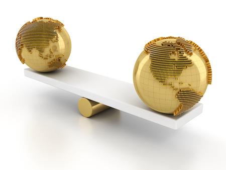global market: Balance of global financial market, 3d render, white background