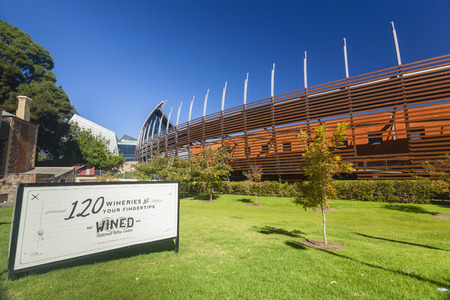 Adelaide, Australia - March 14, 2015: View of the National Wine Centre of Australia in Adelaide. It is a public exhibition building about the winemaking industry and a popular tourist attraction.