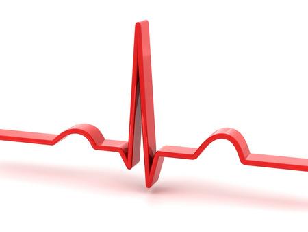 electrocardiograma: 3d rinden de ECG electrocardiograma, fondo blanco Foto de archivo