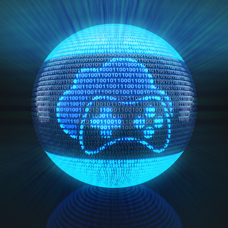 Cloud gaming icon on globe formed by binary code, 3d render Stock Photo