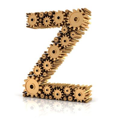 Alphabet Z formed by metallic golden gears, 3d render photo