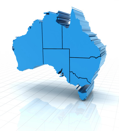 queensland: 3d render of extruded Australia map with state borders