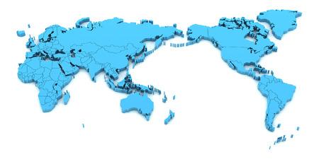 world: Carte du monde Bleu avec l'Asie au centre, 3d render