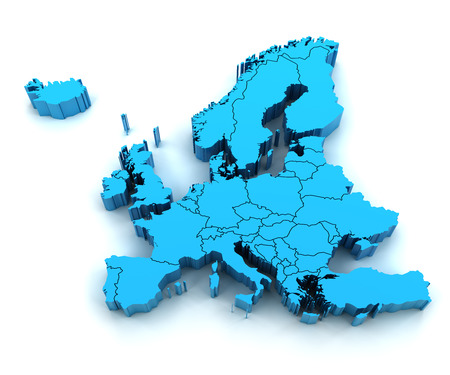 3d render of extruded Europe map with national borders