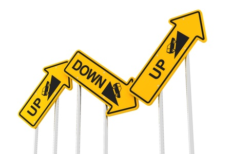 fluctuation: Upward and downward road signs, 3d render, white background