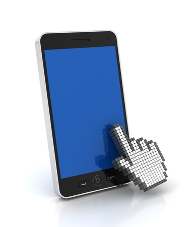 clicking: Hand cursor clicking a mobile phone with copyspace, 3d render, white background