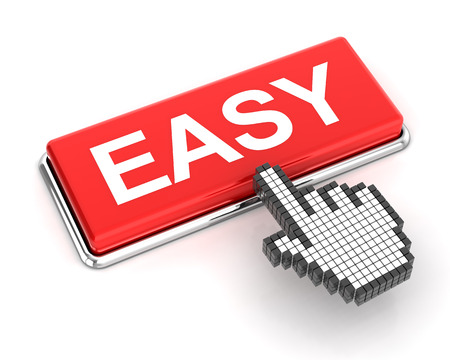 Hand cursor clicking an easy button, 3d render, white background