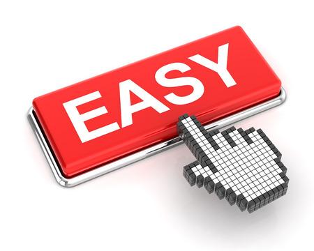 3d cursor: Hand cursor clicking an easy button, 3d render, white background