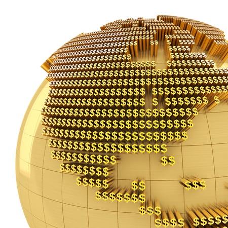 golden globe: Golden globe formed by dollar sign, close-up on USA, 3d render