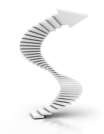 白いらせん階段矢印、3 d レンダリング、白の背景