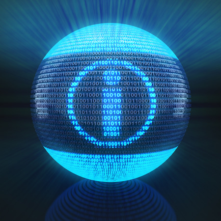 binary globe: Info symbol on globe formed by binary code, 3d render