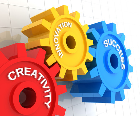innovation: 3d render of gears with the words creativity, innovation and success Stock Photo