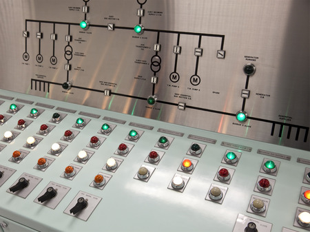 control room: Control panels in the control room of a water treatment plant