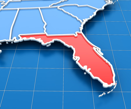 florida state: 3d render of USA map with Florida state highlighted in red