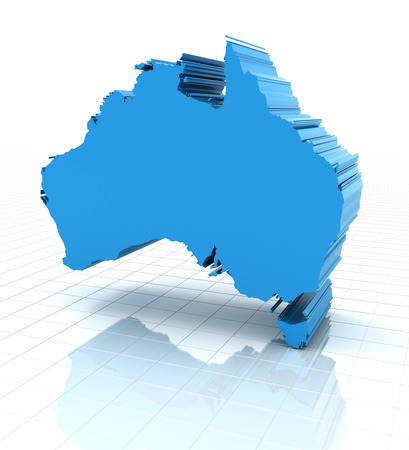 queensland: 3d render of extruded Australia map, white background Stock Photo