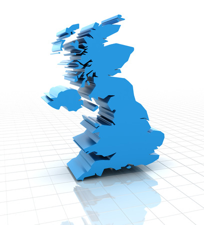 extruded: 3d render of extruded United Kingdom UK map, white background