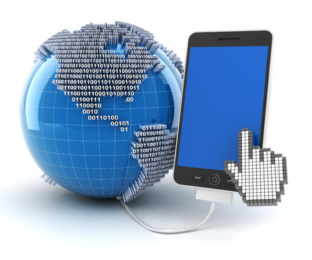 Mobile phone connected to globe with binary code, 3d render photo